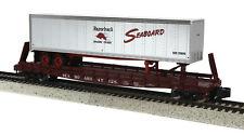 MTH S Gauge Seaboard Flat w/Trailer Scale Wheels 35-76032