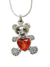 Silver Crystal Red Heart Teddy Bear Necklace Pendant Women Girls Dress Jewellery