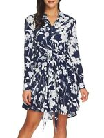 1.STATE 158660 Women's Tie Front Shirt Dress Long Sleeve Navy/White Sz. Large
