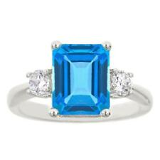 10K White Gold Plated Ring Octagon London Blue Topaz Created Moissanite 0.26ct