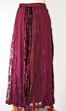 Maxi Skirt Crushed Velvet Lace Goth Plum Purple Steampunk Xmas Crinkle Arty 10