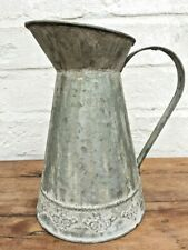 French Vintage Style Metal Jug Shabby Chic Pitcher Flower Vase Rustic Zinc
