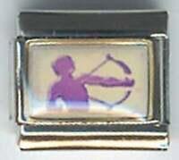 Purple Sagittarius  zodiac sign photo 9mm stainless steel italian charm link
