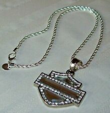 Harley Davidson Bar & Shield Silver Crystal Rhinestone Mirror Pendant Necklace