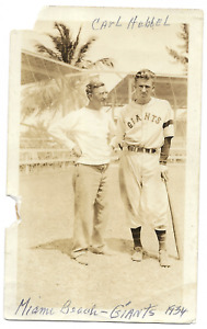 "Baseball: Carl Hubbell (HOF); Miami Beach, March 1934; 2 3/4"" x 4"" Photo"