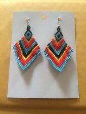 Native American Navajo Beaded Dangle Earrings Lucille Romone Diamond Style #10
