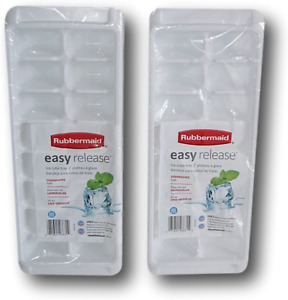 Rubbermaid White Easy Release Ice Cube Tray Set of 2, 12.5'' x 5'