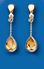 Citrine Yellow Gold Pear Fine Gemstone Earrings