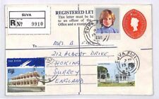 BP10 1983 FIJI Suva REGISTERED STATIONERY Cover Woking LADY DIANA Franking