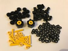 90 Lego technic GEAR wheel beams axle - black & yellow + 2 multi stud shooters