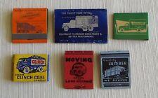 Matchbooks(6) With Trucks On Them, Equipment, Lumber, Fuel Oil, Coal, Concrete