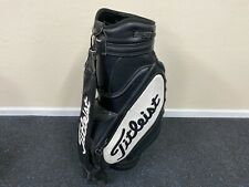NICE Professional TITLEIST GOLF Black & White STAFF BAG Faux Grain Leather Used