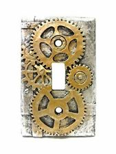 Steampunk Light Switch Plate Cover, Gold/Gray