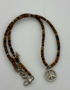 """Brighton Eco Peace Sign Beaded  17.5"""" necklace with Silver Plated beading"""