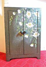 Doll Wardrobe, Wooden Mini 2 Doors & 3 Shelves, Green w/Daisies & Violets