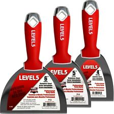 """LEVEL5 #5-620 Drywall Putty Knife Set Stainless Steel 4-5-6""""   FREE SHIPPING"""