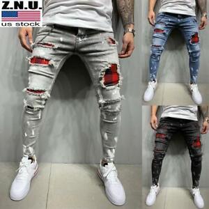 Mens Ripped Distressed Skinny Denim Jeans Super Skinny Slim Fit Stretch Pants US