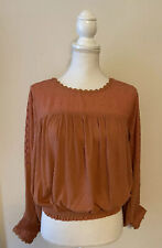 NWOT Free People FP New Romantics Peasant Blouse Top~Balloon Sleeve~Small