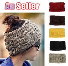 Women Beanie Tail Messy Bun Hat Ponytail Stretch Knit Crochet Skull Head Band