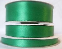 Emerald Green Double-Sided Satin Ribbon in widths - 3mm 10mm 16mm 25mm.