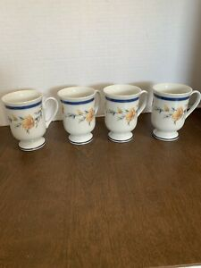 PRINCESS HOUSE Exclusive Set of 4 California Poppy PORCELAIN Footed Mugs Cups