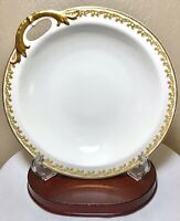 Antique Haviland & Co Limoges France Handled Nappy Bowl Dish Gold Red Green Band