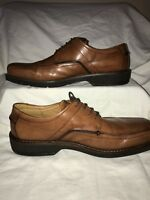 ECCO Mens Oxfords Bicycle Square Toe EUR 47 Brown Leather Dress Shoes 12.5-13
