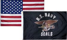 3' X 5' 3x5 Usn Navy Seals Flag + Usa American Flag Flags Wholesale Lot