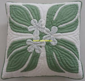 2 Hawaiian quilt handmade hand quilted/appliquéd cushions pillow covers PLUMERIA