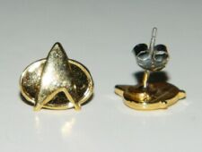 "Star Trek The Next Generation Communicator Logo .5"" Gold Tone Post Earrings"