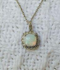 Genuine Diamond & Flashy Opal Necklace Sterling Silver 925 Pendant