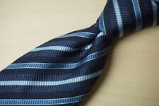 Canali Blue Repp Striped Textured Wool Blend Mens Tie Made in Italy