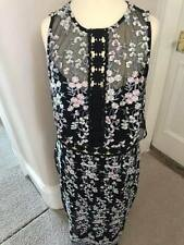 River Island Black embroidered sleeveless bodycon dress Size 10 (BNWT)