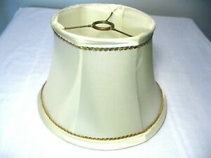VINTAGE SATIN BELL SHAPE LAMP SHADE with GOLD TRIM
