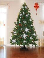 30pcs White Snowflake Ornaments Christmas Tree Decorations Festival Party Decor