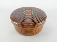 Japanese antique vintage lacquer wood small round cover bowl box case chacha