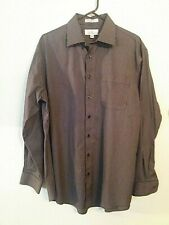 Enro 16.5 34/35 Black,Gray Striped Long Sleeve Button Up Non-Iron/Ezcool Shirt