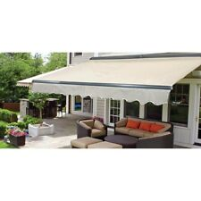 ALEKO Sunshade Half Cassette Retractable Patio Deck Awning 12x10 ft Ivory Color