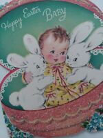 1955 Vtg Happy EASTER Baby w Bunnies PINK GLITTER Egg NORCROSS GREETING CARD
