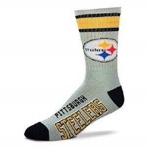 NEW! Pittsburgh Steelers NFL Mens Gray Grey Stripe Deuce Large Crew Socks