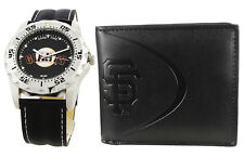 San Francisco Giants Official MLB Watch and Wallet Black Leather Stainless Steel