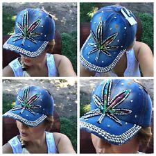 New listing Women Pot leaf Weed Blue Denim Baseball Cap