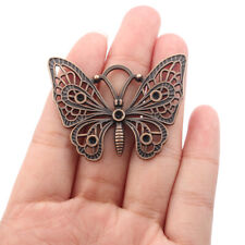 5Pcs Antique Copper Filigree Butterfly Charms Pendants Jewelry Necklace Making