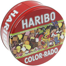 Haribo Color-rado Red Round Storage Tin Kitchen Food Biscuit Canister Container