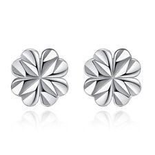 925 Sterling Silver Lucky Clover Ear Stud Earrings Women Girl's Fashion Gift