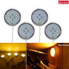4PCS Kitchen Counter Under Cabinet Warm White LED Light Puck Energy Saving Kit