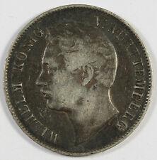 German States Wurttemberg 1840 1 Gulden Silver Coin VF KM# 574 Wilhelm I Toned