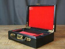Superb Black Leather Vintage Jewellery Case Red interior