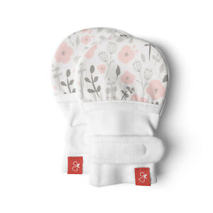 Goumikids Organic Stay On No Scratch Baby Infant Mittens, 0-3M Enchanted Garden