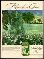 1947 GREEN GIANT Peas- Jolly Green Giant- Field of Flowers - Food- VINTAGE AD